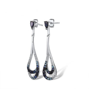 Brilliant Blue Topaz & White Sapphire Drop Earrings - Treasure Knot