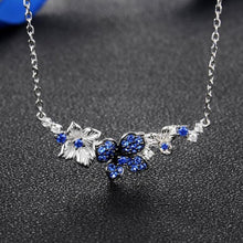 Load image into Gallery viewer, Dazzling Blue Flower Silver Necklace - Treasure Knot
