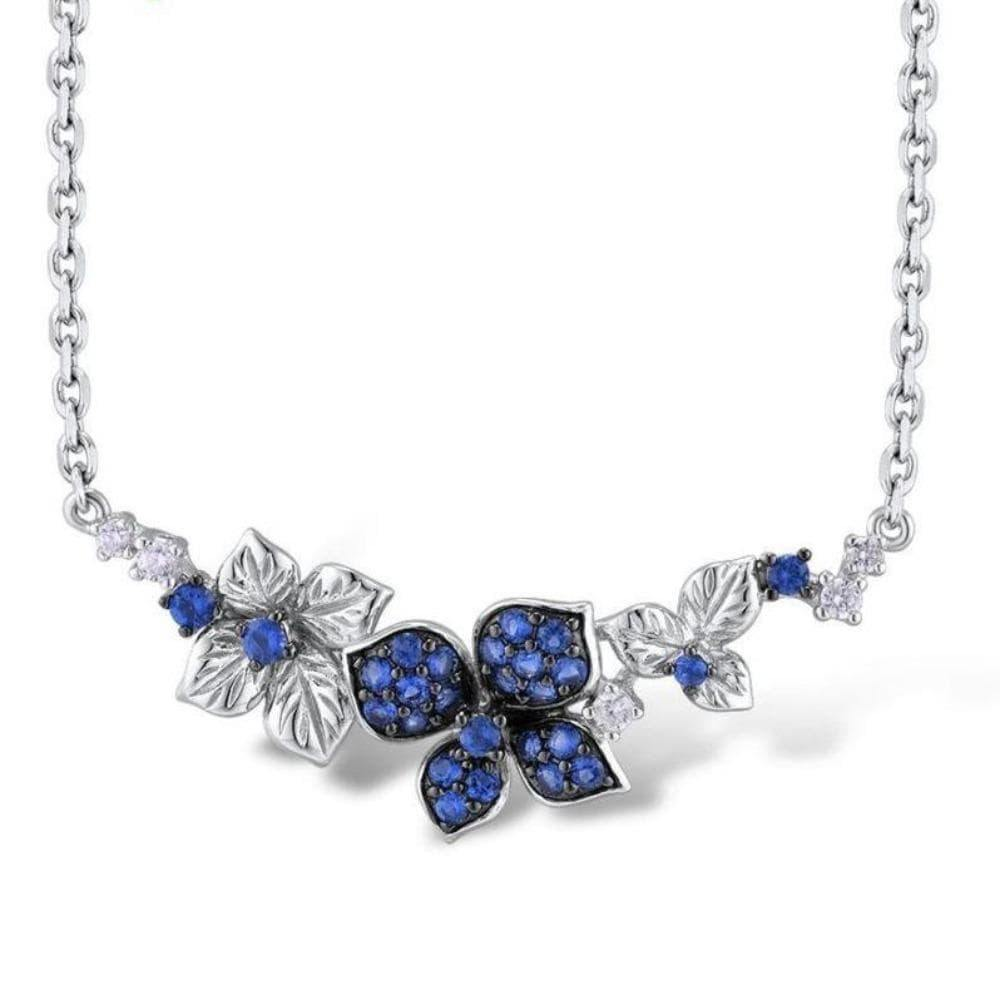 Dazzling Blue Flower Silver Necklace - Treasure Knot