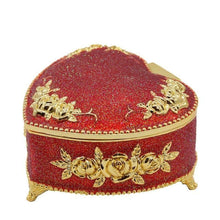 Load image into Gallery viewer, Glittering Red Heart Trinket Box - Treasure Knot