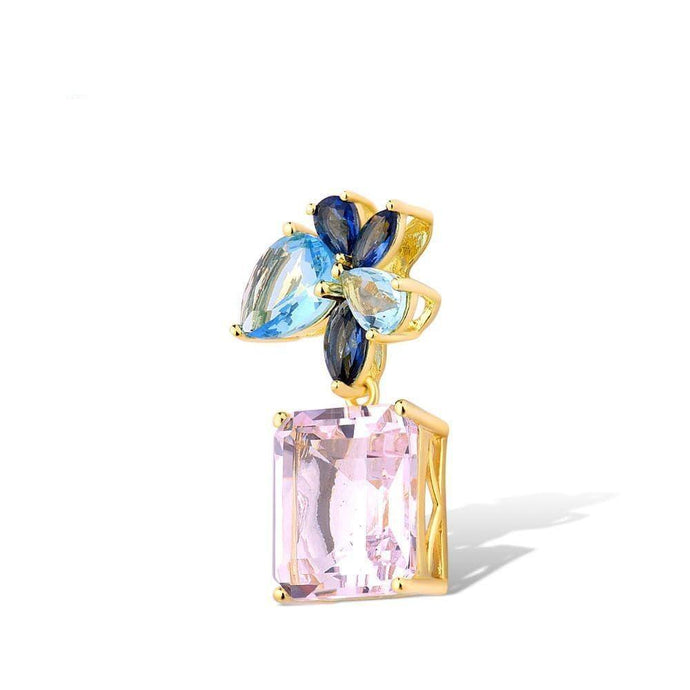 Treasure Knot Pendants Sparkling Blue & Pink Gem Pendant