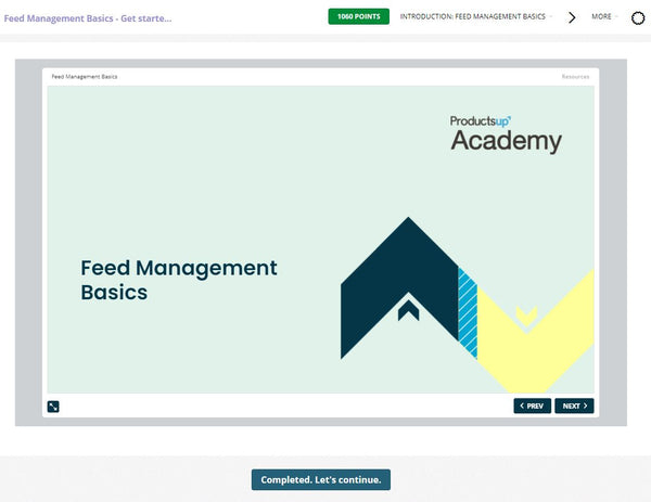 Productsup Academy course Feed Management Basics