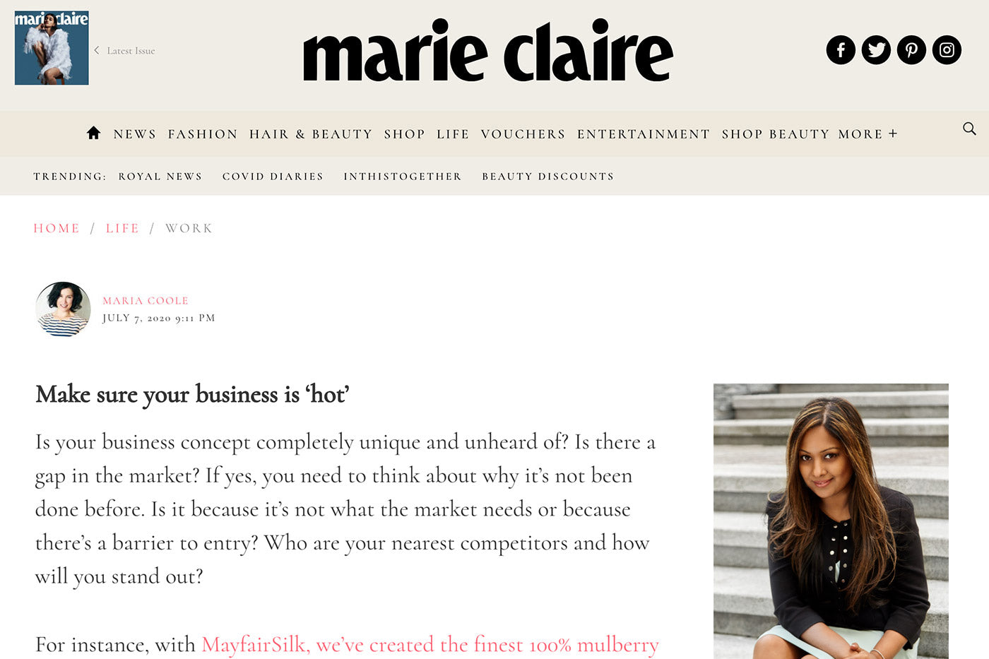 MayfairSilk featured in Marie Claire