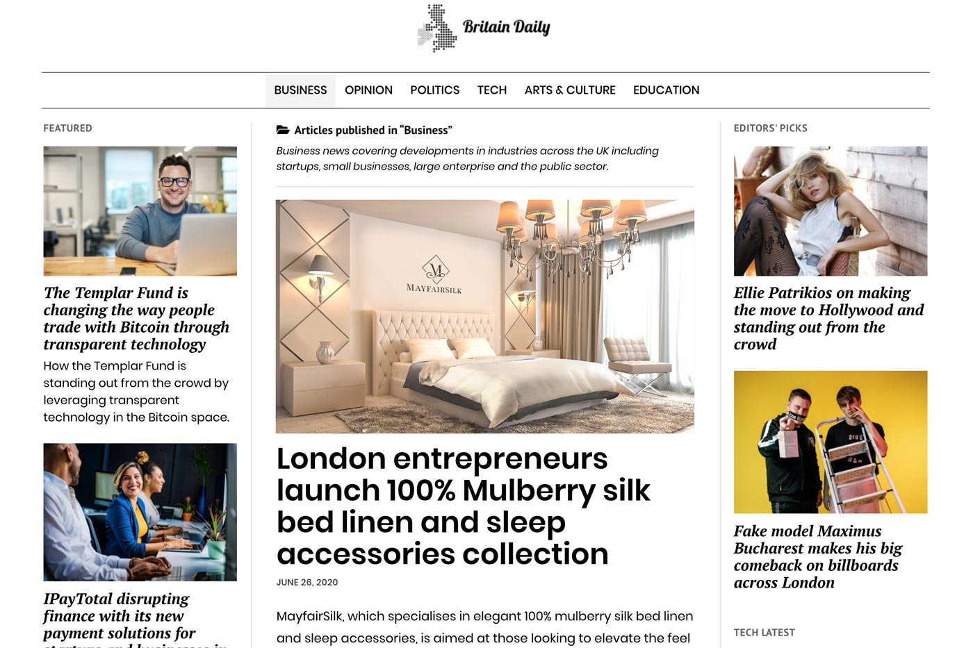 MayfairSilk featured in Britain Daily