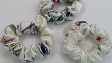 Load and play video in Gallery viewer, White Silk Scrunchies with Botanical print - Hair Ties