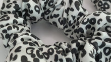 Load and play video in Gallery viewer, Leopard Silk Scrunchies with White and Black Highlights - Hair Ties