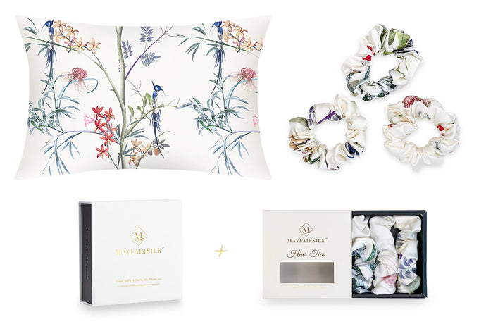 Hummingbird Silk Pillowcase + Scrunchies Gift Set - MayfairSilk