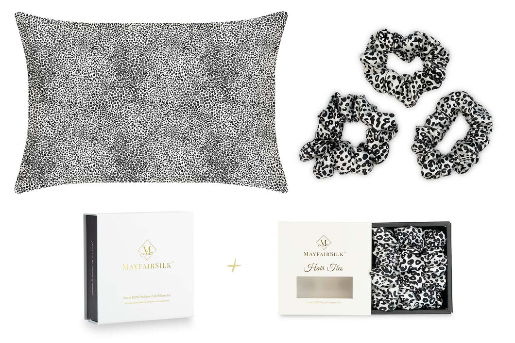 Leopard Silk Pillowcase + Scrunchies Gift Set - MayfairSilk