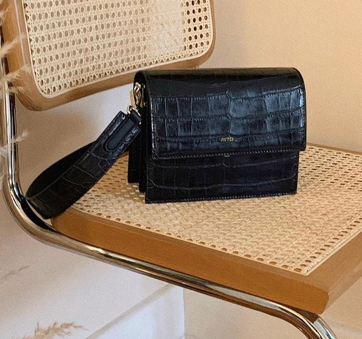 Sac Mini Flap - Noir Effet Croco - E-SHOP OFFICIEL JW PEI FR