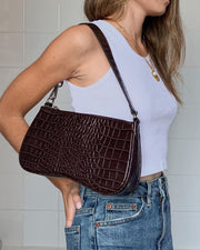Sac Baguette Eva - Marron Effet Croco - E-SHOP OFFICIEL JW PEI FR