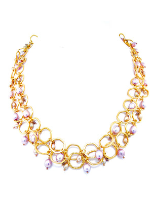 Lavender fresh water pearl necklace set in 24K gold.