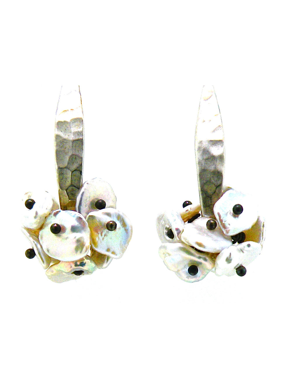 Hammered Keshi Pearl Earrings - Dana Busch Designs