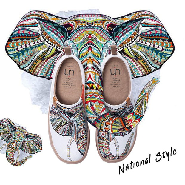 ELEPHANT Art Painted White Canvas Slip-ons for Ladies