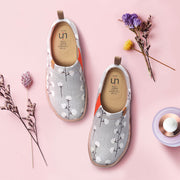 -Nude Cotton- Female Grey Canvas Slip-ons