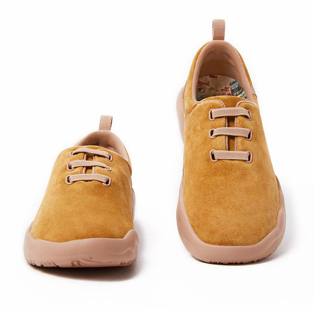 Segovia Khaki Cow Suede Lace-up Shoes Women