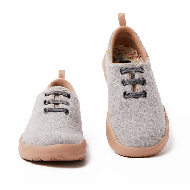 Segovia Light Grey Wool Lace-up Shoes Women
