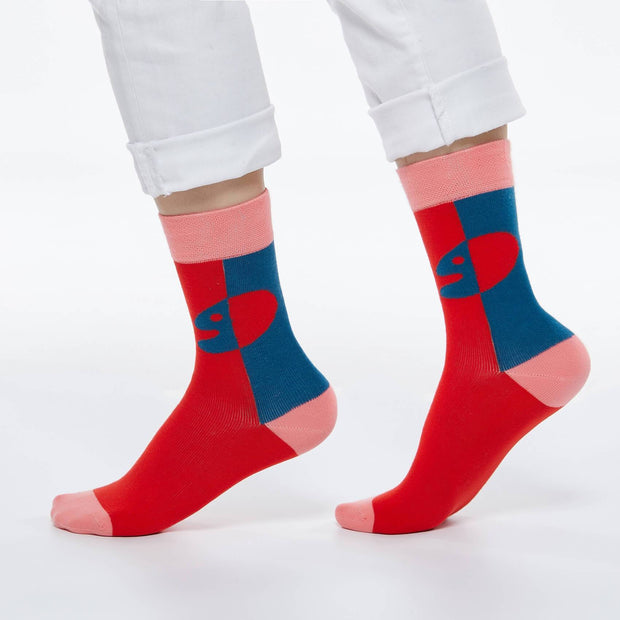 UIN Footwear Accesory Mid Calf Sock You+Me Red Canvas loafers