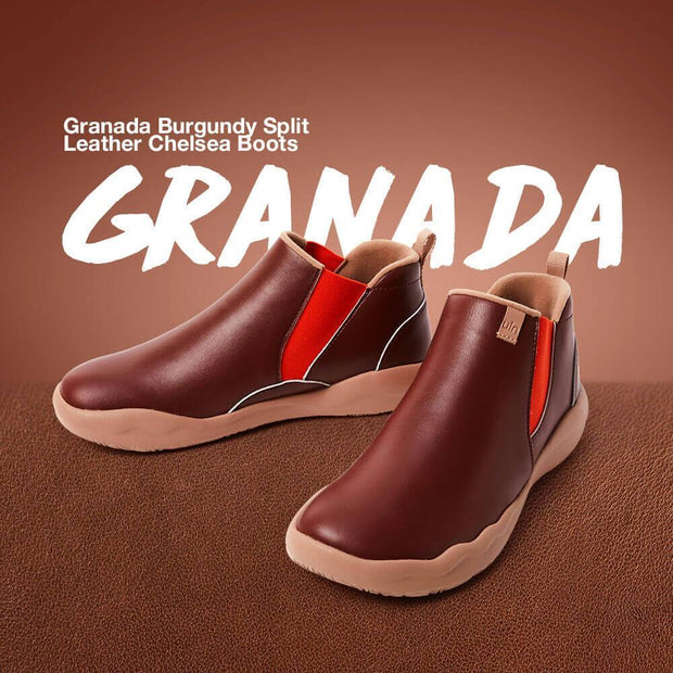 UIN Footwear Kid Granada Burgundy Split Leather Boots Kid Canvas loafers