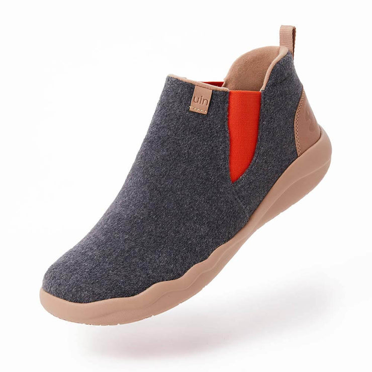 UIN Footwear Kid Granada Deep Grey Wool Boots Kid Canvas loafers