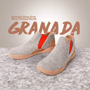 UIN Footwear Kid Granada Light Grey Wool Boots Kid Canvas loafers