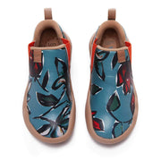 UIN Footwear Kid Rose in Blue Kid Canvas loafers