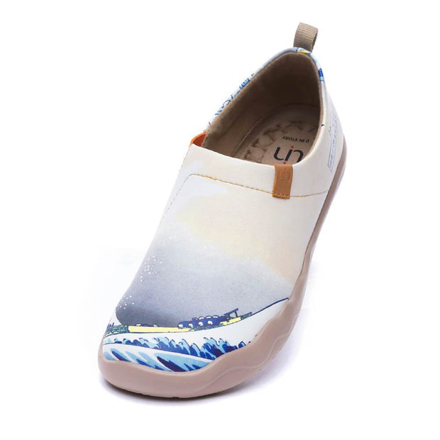 UIN Footwear Men -Great Wave off Kanagawa- Art Painted Women Fashion Flat Shoes Canvas loafers