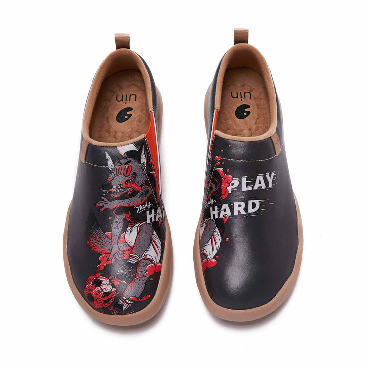 UIN Footwear Men Play Hard With Wolf Canvas loafers