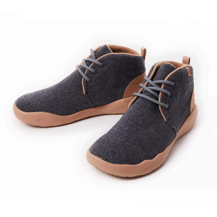 UIN Footwear Men (Pre-sale) Bilbao Deep Grey Wool Lace-up Boots Men Canvas loafers
