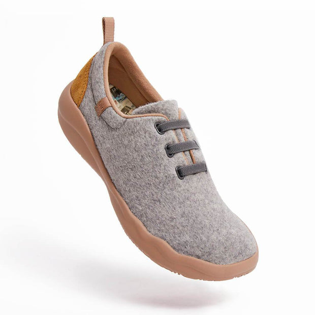 UIN Footwear Men (Pre-sale) Segovia Light Grey Wool Lace-up Shoes Men Canvas loafers