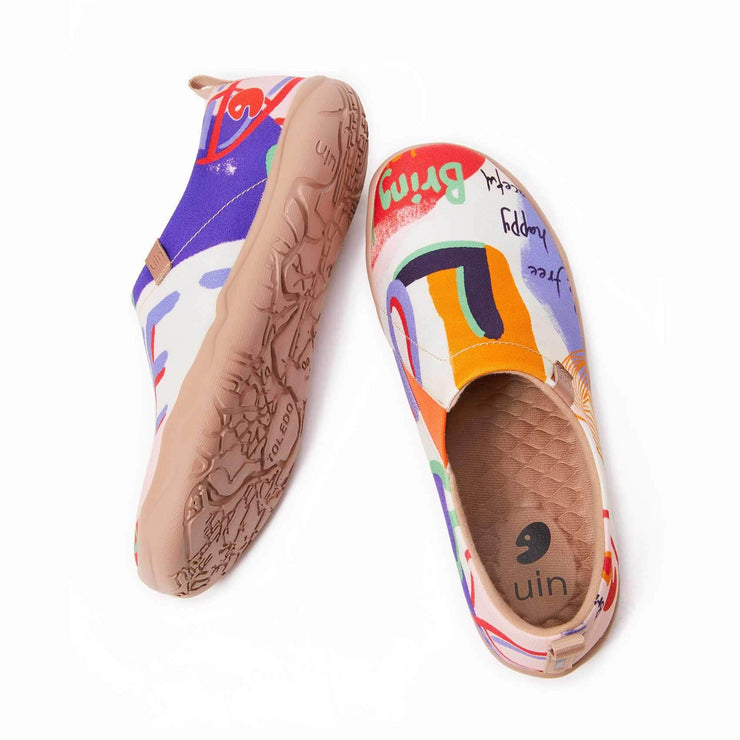 UIN Footwear Women Be Free Be Happy Canvas loafers