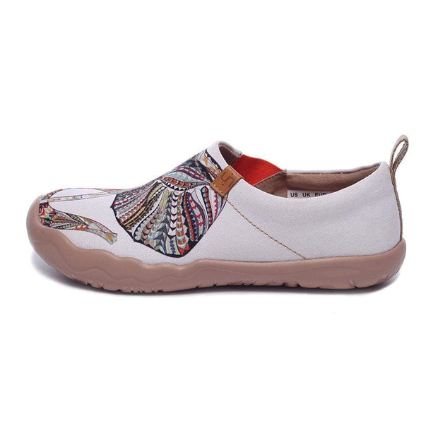 UIN Footwear Women -Elephant- Art Painted White Canvas Slip-ons for Ladies Canvas loafers