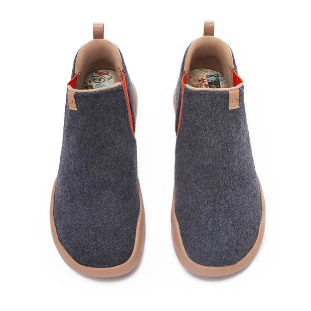 UIN Footwear Women Granada Deep Grey Wool Boots Women Canvas loafers