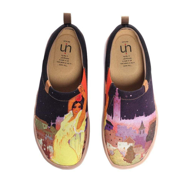 UIN Footwear Women Midnight Princess Painted Shoes for Lady Canvas loafers