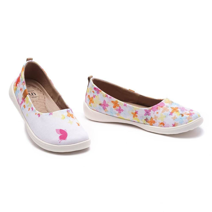 UIN Footwear Women Painted Butterflies Canvas loafers