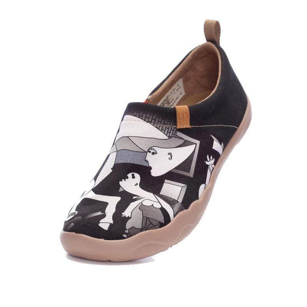 UIN Footwear Women Picasso's Guernica Canvas loafers