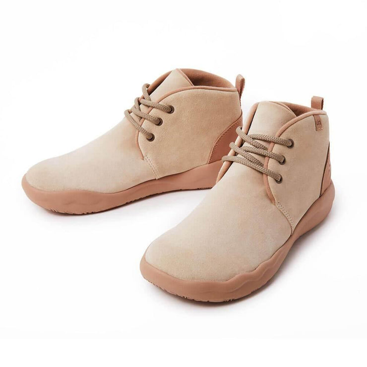 UIN Footwear Women (Pre-sale) Bilbao Beige Cow Suede Lace-up Boots Women Canvas loafers