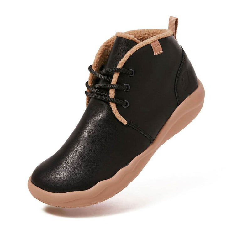 UIN Footwear Women (Pre-sale) Bilbao Black Split Leather Lace-up Boots Women Canvas loafers