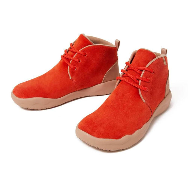 UIN Footwear Women (Pre-sale) Bilbao Red Cow Suede Lace-up Boots Women Canvas loafers
