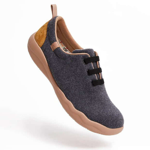 UIN Footwear Women (Pre-sale) Segovia Deep Grey Wool Lace-up Shoes Women Canvas loafers