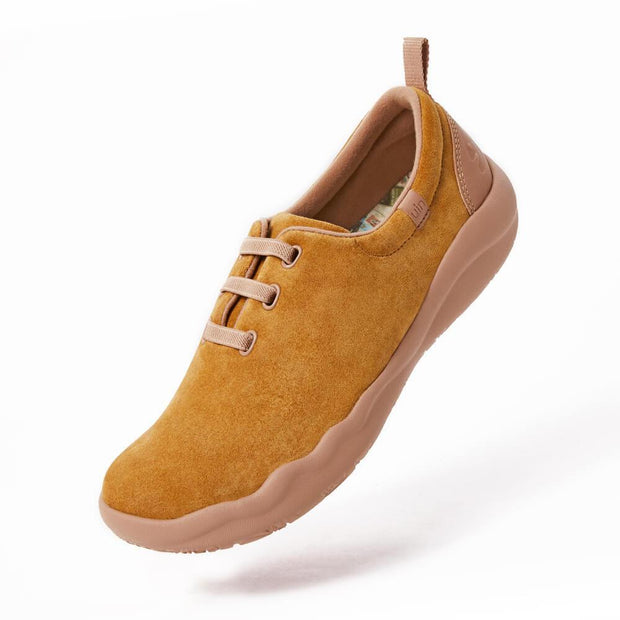 UIN Footwear Women (Pre-sale) Segovia Khaki Cow Suede Lace-up Shoes Women Canvas loafers