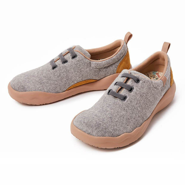 UIN Footwear Women (Pre-sale) Segovia Light Grey Wool Lace-up Shoes Women Canvas loafers