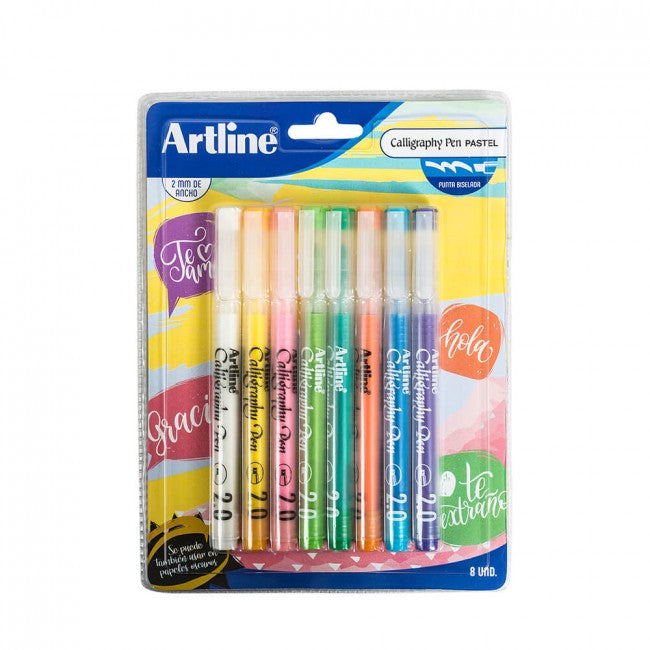 Pack Artline Calligraphy 2mm 8 Colores