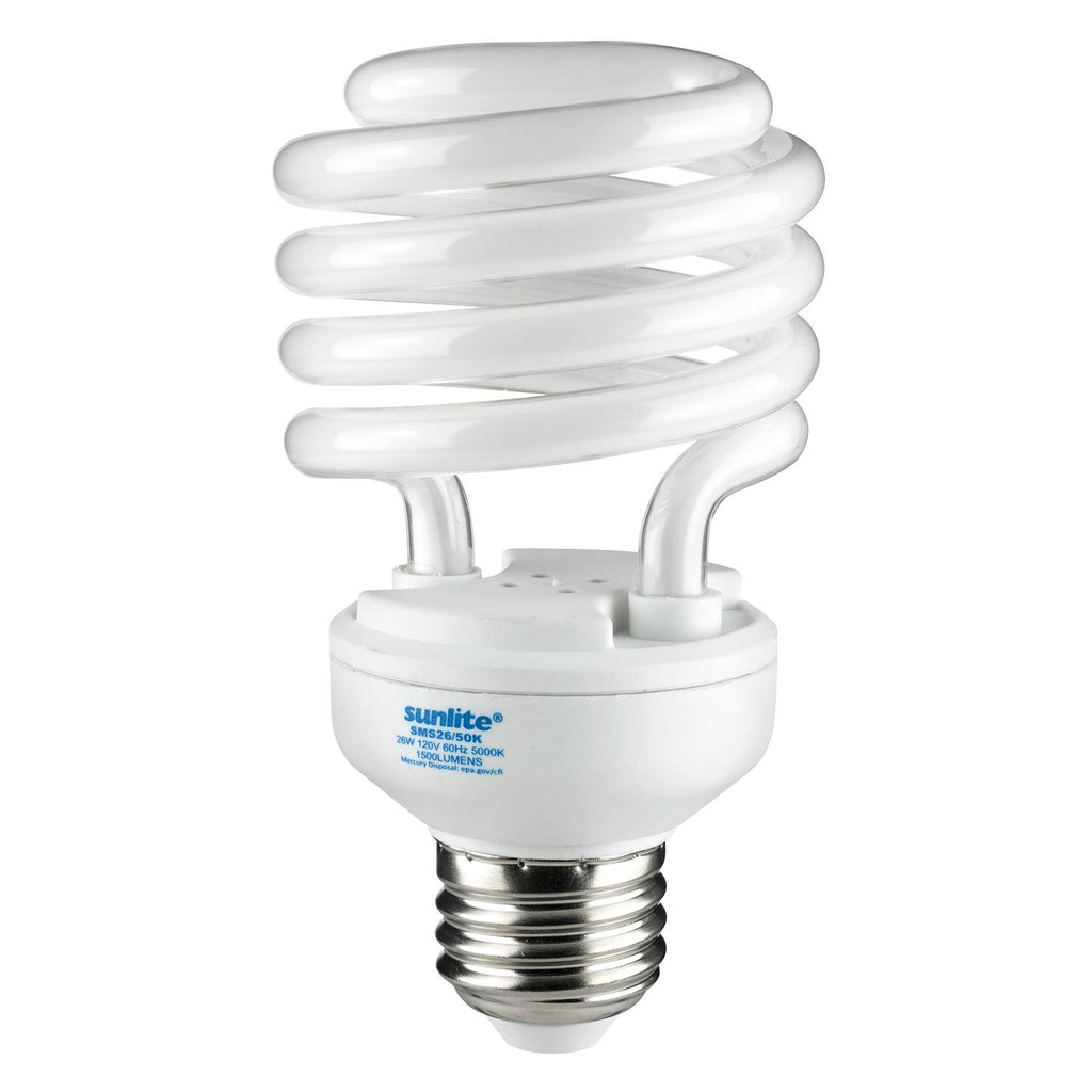 SUNLITE 26w T2 Medium Base 5000K Super White Super Mini Spiral Lamp