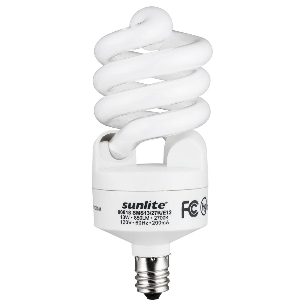 SUNLITE 13w T2 E12 Candelabra Bse 2700K Warm White Super Mini Spiral Lamp