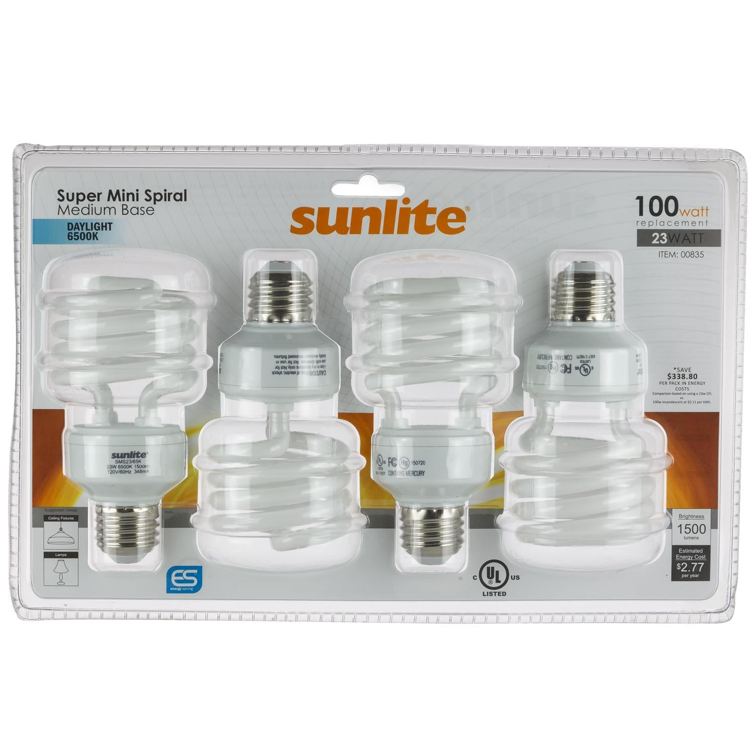 4Pk - SUNLITE 23w T2 Medium Base 6500K Daylight Super Mini Spiral Lamp