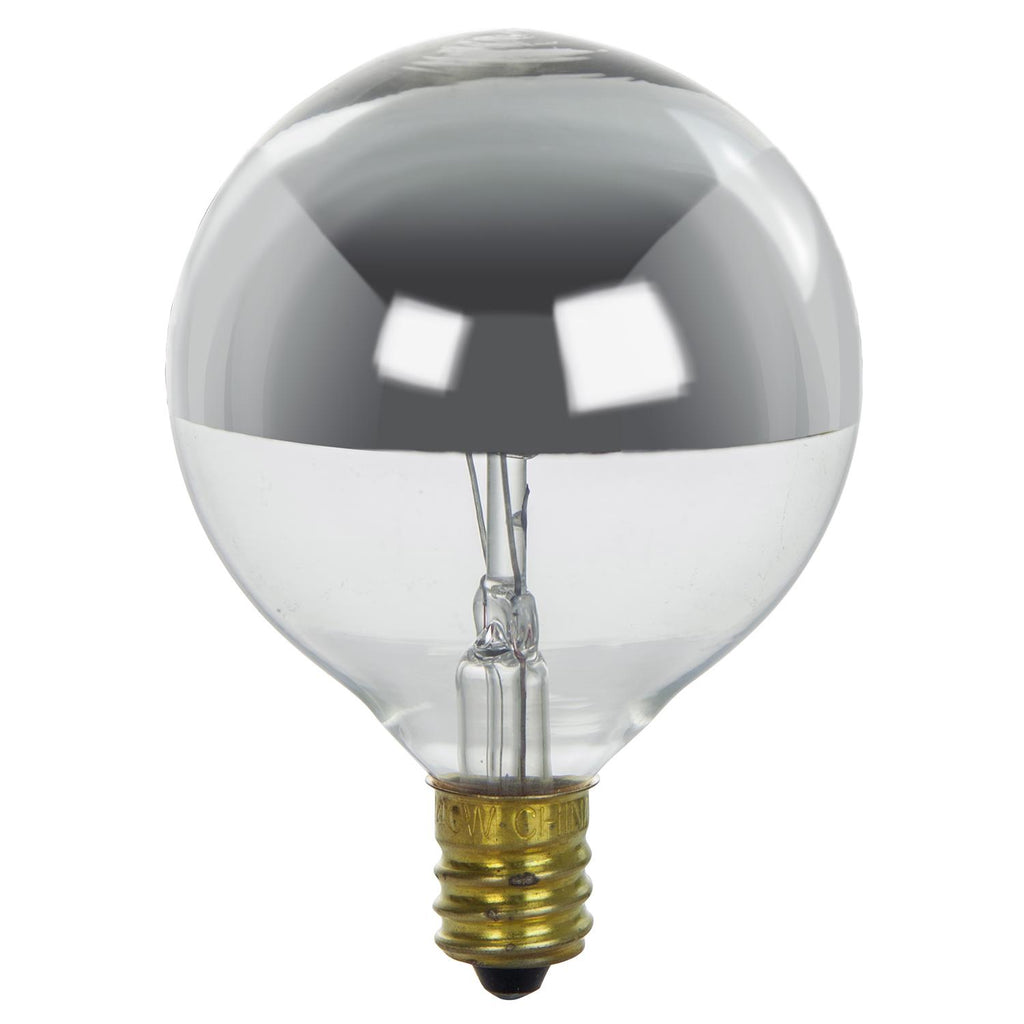 SUNLITE 25W 120V Globe G16.5 E12 Silverbowl Incandescent Light Bulb