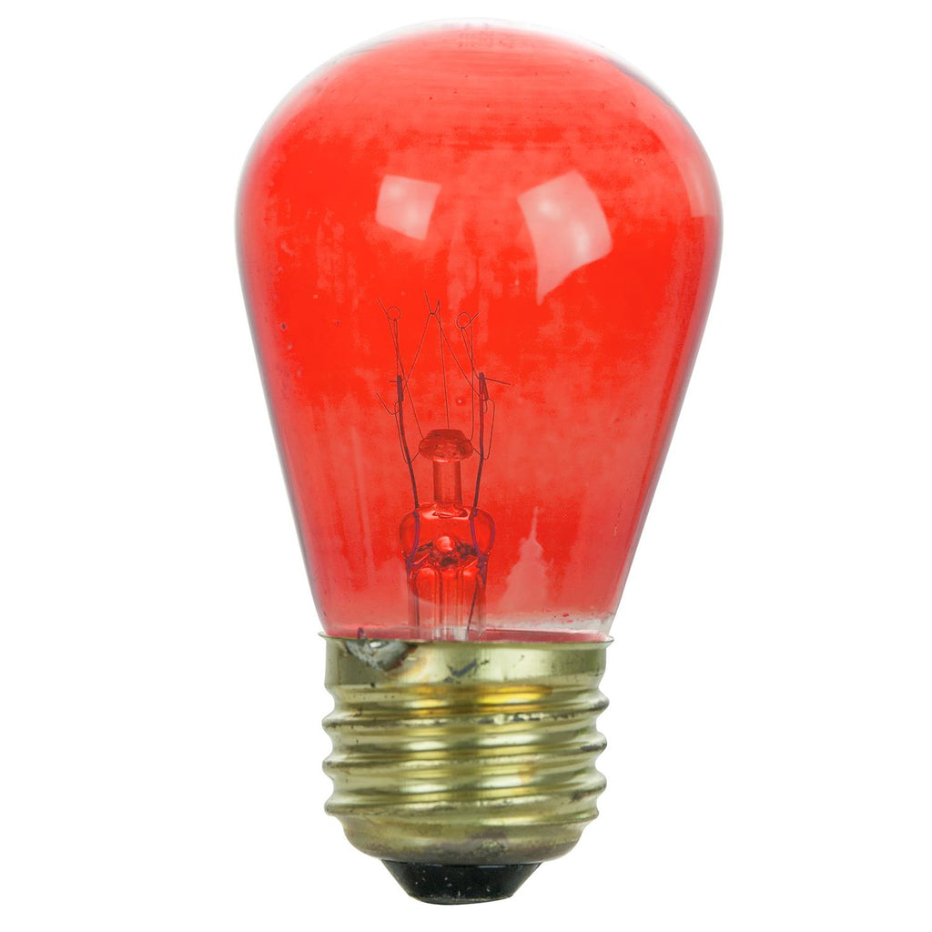 2PK - SUNLITE 11w S14 Red Transparent lamp 120v Medium Base