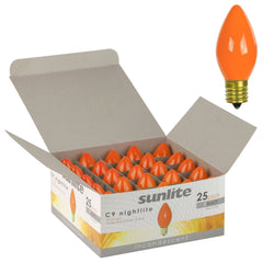 25Pk - SUNLITE 7w C9 120v Intermediate Base Orange lamp