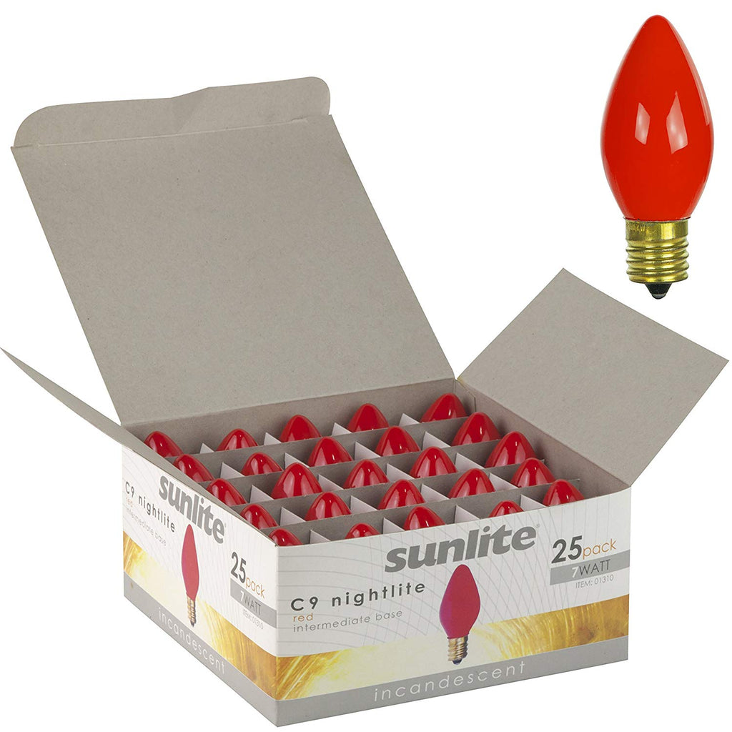 25Pk - SUNLITE 7w C9 120v Intermediate Base Red Bulb
