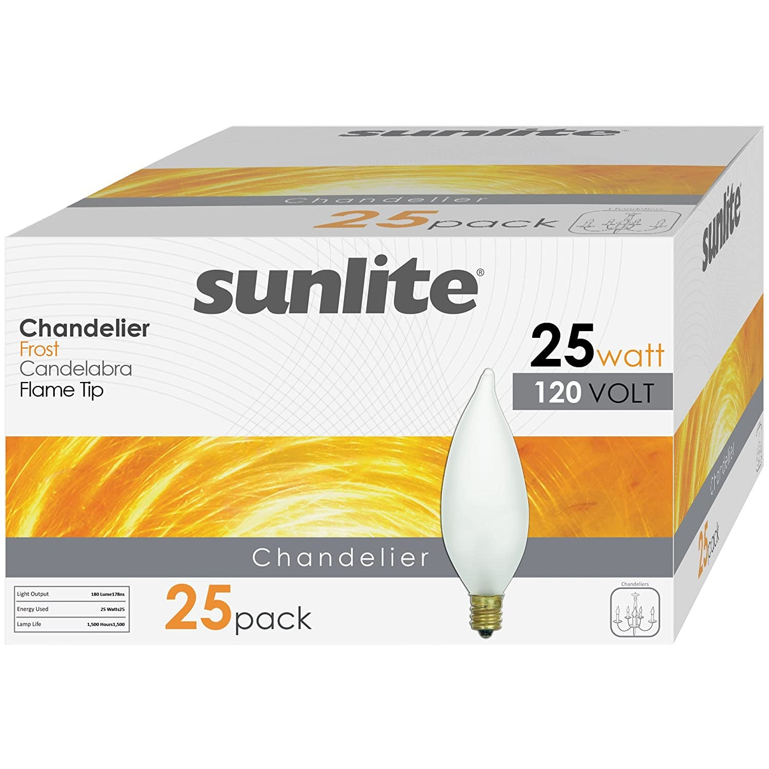 25 Pack - SUNLITE 25w Flame 120v Candelabra Base Frost bulbs